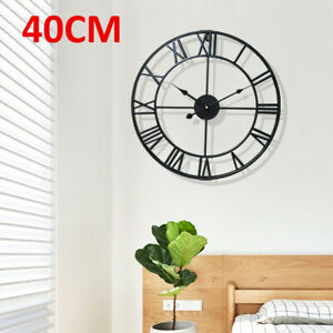 40CM Large Wall Clock Roman Numerals Metal Indoor Big Round Open Face Garden UK