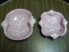 ROYAL CROWN E & R CO PINK RAISED FLORAL BOWL SET OF 2 ITALY TAGS RARE
