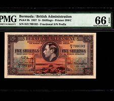 Bermuda 5 Shillings 1937 P-8b PMG Gem Unc 66 EPQ * King George *