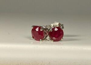 Ruby Pigeon Blood Red Stud Earrings NEW 14K WG 1 TCW 4.7mm Certified White Gold
