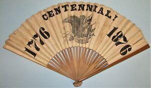 1876 Centennial souvenir folding fan - Mt. Fuji painted on back