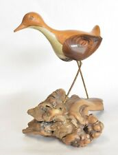 Signed Jack Francis Spotted Sandpiper Carving on Burled Driftwood - Carved Bird