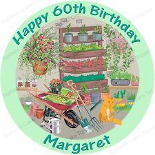 Personalised Gardener Gardening Cat Edible Icing Birthday Party Cake Topper