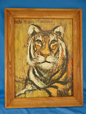 Oil painting Tigris of Bengala signed Arnau southeast Asian jungle tiger animal