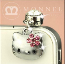 IP248-B Cute Pink Crystal Bow Hello Kitty Cat Anti Dust Plug Cover Charm for