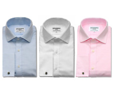 Men's Double Cuff Shirt 15 - 17.5 Cotton Pink Blue White Regular Extra Slim Fit
