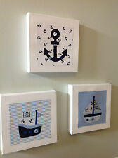 SET OF 3 HANDMADE NAUTICAL BOATS ANCHOR CANVASES nursery baby vintage children
