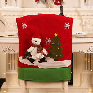 Christmas Decor Chair Covers Dining Seat Cover Santa Claus Home Party Decor 1pc