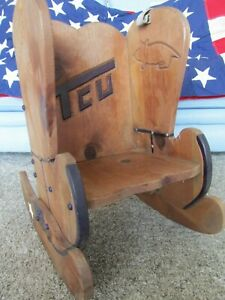 Vintage Childs Rocking Chair Hard Wood Frame with Western details