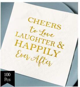 Crisky Bridal Shower Napkins Disposable Cocktail Napkins 3-Ply Gold Foil Text Be