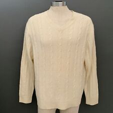Club Room Charter Club Mens Cable Sweater Large Ivory Cream 100% Wool V-Neck