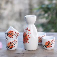 5 Pcs Japanese Sake Set Bottle Plum Flower Porcelain Hand Painted Ceramic Crafts