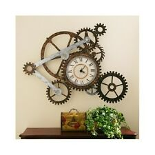 Rustic Wall Clock Industrial Sculpture Gears Steampunk Art Rugged Vintage Style