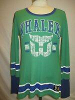 Hartford Whalers NHL Women Vintage Hockey LS Jersey Thermal Shirt Size M NHL