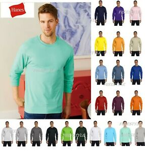 Hanes Beefy Long Sleeve double-needle stitching S-3XL size T-Shirt 5186 NEW SALE