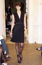 NWT Martin Grant Net-a-Porter Black Grosgrain Trim Wool Deep V-Neck Dress L 8