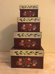 Set of 4 Vintage Nesting Boxes Storage Boxes
