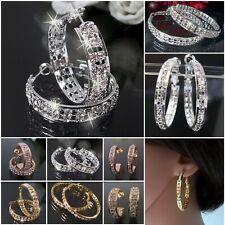 Ohrringe Silber oder Gold plattiert Creolen 3-5cm Schmuck Strass klar Damen VO1
