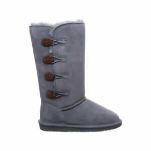 Bearpaw Lori Boots 12-inch Tall Button Never Wet Charcoal Grey Womens 10 US New