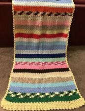 Afghan Crochet Handmade Lapghan Wheelchair Baby Blanket Blue 34x88 wash dry
