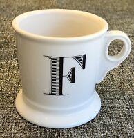 Anthropologie 14oz White Coffee Mug Cup Black Letter F Initial Monogram