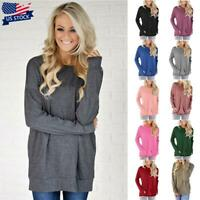 Womens Long Sleeve Solid T-Shirt Tops Ladies Casual Blouse Shirts Tunic Tops USA