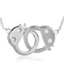 Polished Sterling Silver Dangling Handcuff Womens Necklace