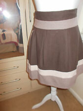 Primark Brown and Beige block colour Heavy full lined high waisted skirt 10