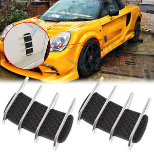 Hood Side Flow Vent Fender Grille Air Net Door Decor Sticker for Ford Lincoln