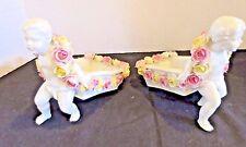 Antique Von Schierholz Pair Cherub Putti Flower Carts Roses German Porcelain