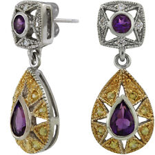 Vintage Drop Earrings With Amethyst Diamonds And Sapphires 14k White Gold