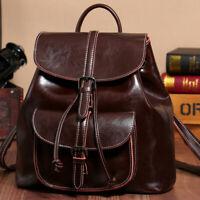 100% Genuine Leather Women's Drawstring Backpack Travel Bag Vintage Rucksack Bag