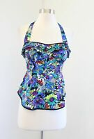 Odille Anthropologie Pop of Posies Floral Ruffle Halter Top Blouse Size 0 Blue
