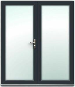 uPVC Grey French Doors / Patio Doors / Back Doors / IN STOCK / PRE-BUILT! (#102)