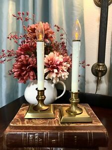 Set Of 2-Pair Of Restoration Hardware Single Window Candle Lamps Antique Brass