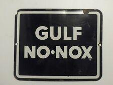 Gulf Sign No Nox Oil Sign Vintage Porcelain Gasoline Sign Gas Pump Service Stop
