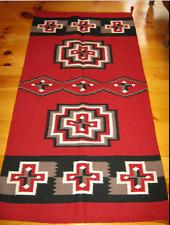 Navajo Design, Southwestern Wool Rug or Wall Hanging 32 x 64 Red Black White