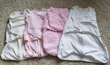 Baby Girl Sleepsacks Lot of 4 - Newborn 0-6m Pink White Halo Blankets & Beyond