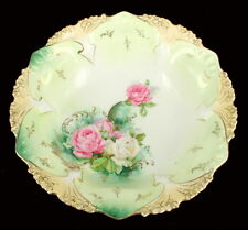 Antique RS Prussia  Bowl Mold #82 Point & Clover Pink & White Roses