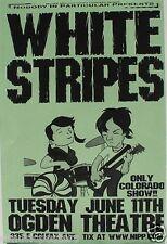 WHITE STRIPES 2003 DENVER CONCERT TOUR POSTER-CARTOON DRAWING OF JACK &MEG WHITE