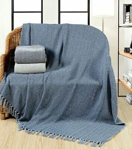 100% Cotton Chevron Throw Blanket For Sofa Bed Settee Large With Tassel 3 Sizes