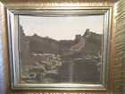 1950's GREAT WALL OF CHINA TAPESTRY FRAMED UNDER GLASS
