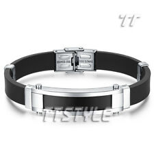 Quality TTstyle Two-Tone Silver/Black Stainless Steel ID Bracelet NEW