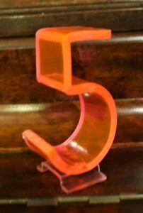 "Vintage Mid Century 1950's Retro Neon Orange Pink Fiber Optic Number Five 5 - 3"""