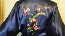 Vintage Blue Rayon Embroidred Oriental Robe China Medium Golden Bee