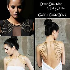 Body Chain over the shoulders Christmas Party  Jewellery - Gold/Black + Gold UK
