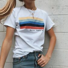 Brandy Melville white rainbow Aleena BIARRITZ FRANCE 1990 graphic top NWT