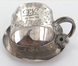 .1896 MERIDEN, USA QUADRUPULE PLATE No 168 LARGE HEAVY SET LILY PAD NAPKIN RING.