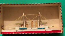 Early Vintage Wood Wooden Toy Ship Boat Japan w/ Box Battleship American Flag