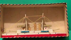Vintage WOODEN TOY SHIP BOAT Japan w/ Original Box TOY BATTLESHIP American Flag